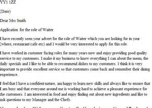 Cover Letter For Waiter by Cover Letter For Waitress Application