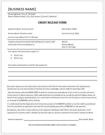 credit release form credit release form templates for ms word word excel