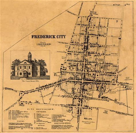 detail of frederick city from isaac bond map of frederick