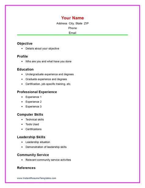 resume templates for college students new college resume example for