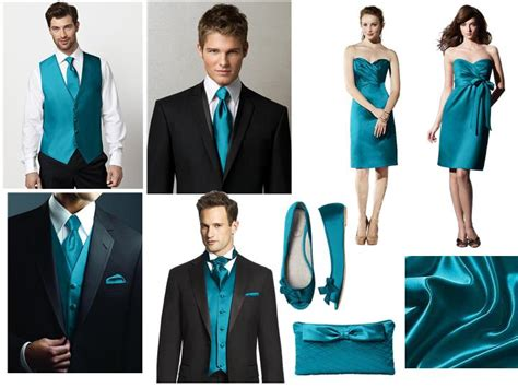 oasis color oasis bridesmaid dress vest and tie pantone wedding