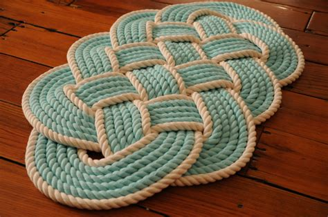 rope rugs aqua and white cotton bath mat rope rug nautical decor