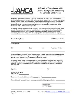 Level 2 Background Check Affidavit Of Compliance With Level 2 Background Screening For Covered Employees Fill