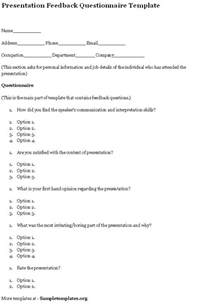 questionnaire template for presentation feedback example