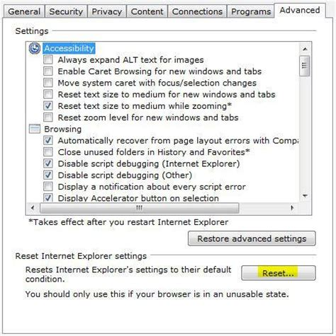 how to reset internet explorer in windows 7