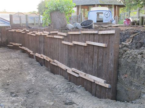 Sleeper Retaining Wall Ideas by Retaining Wall With Azobe Railway Sleepers
