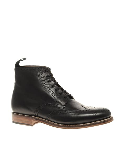 black brogue boots grenson sharp brogue boots in black for blackcalf lyst