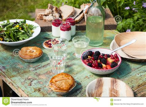 picnic table setting stock photo image  garden food
