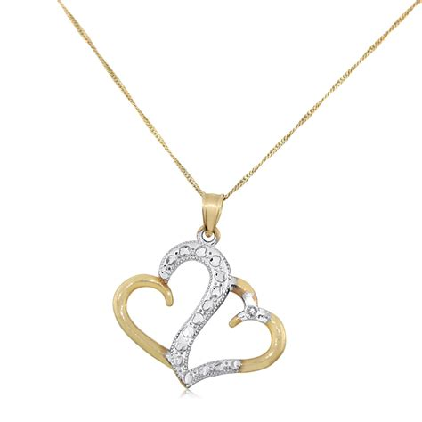 hearts 14k gold pendant with jewelry