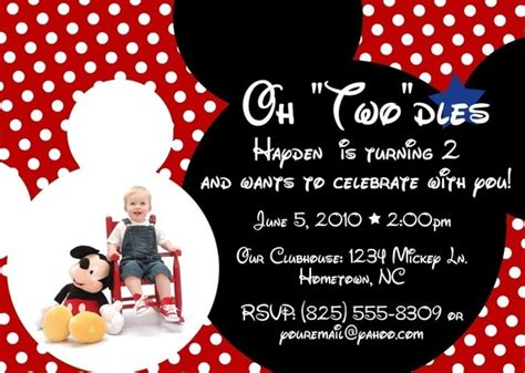 mickey mouse birthday invitation wording oh two dles birthday