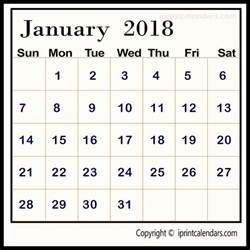 Free 2018 Calendar Template January 2018 Calendar Template Templates Tools
