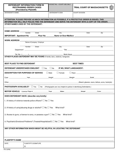 printable civil restraining order forms bing images