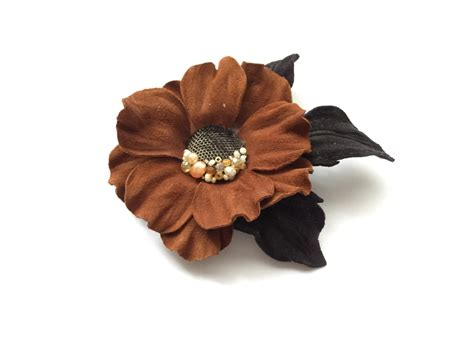 Handmade Flower Brooches - leather flower brooch handmade flower leather flower