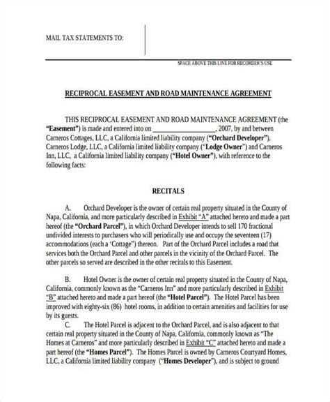 child maintenance agreement template road agreement template 28 images sle road maintenance