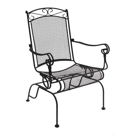 Wrought Iron Rocker Patio Chairs Charleston Wrought Iron High Back Rocker Chair Set Of 2 Outdoor Dining Chairs At