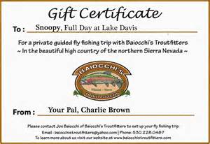 Fishing Gift Certificate Template by Fly Fishing Gift Certificate Template