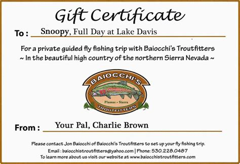 fishing gift certificate template fly fishing gift certificate template