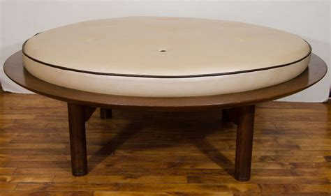 Mid Century Danish Modern Round Leather And Wood Ottoman