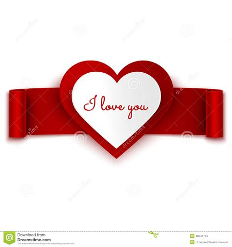 banner design love i love you text on heart and red ribbon banner isolated on