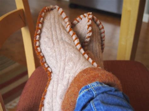 How To Make Handmade Sweater - diy sweater slippers 1 library book 2 thrifted sweaters