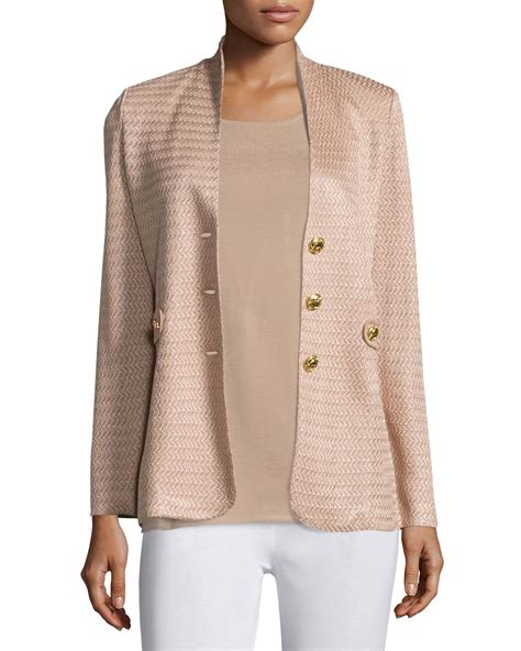 Valentino Gold Button Detail Jacket Review by Misook Textured Gold Button Jacket In Save 32