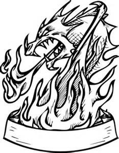 ausmalbild drachen in flammen mit banner