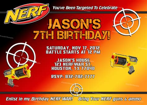 Nerf Gun Birthday Party Invitations Dolanpedia Invitations Template Nerf Invitation Template Free