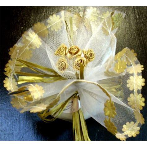 fiori anniversario tulle oro bordo fiore 50 176 anniversario bomboniere incartando