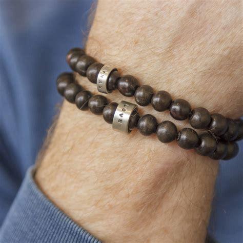 mens wood bead bracelet personalised wooden bead mens bracelet by soremi jewellery