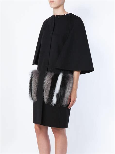Hoodie Jaket Sweater Fox lyst fendi arctic fox fur pocket coat in black