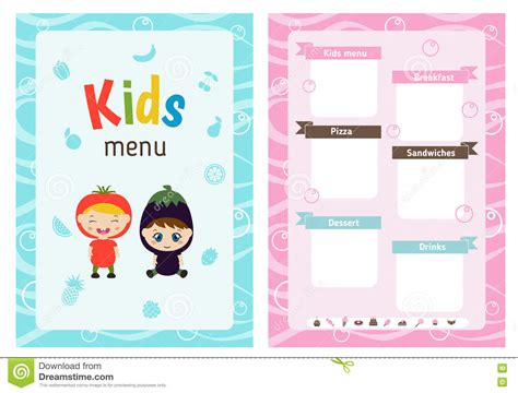 kid card template menu design stock vector image of baby childish