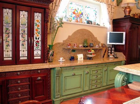 Stained Glass Kitchen Cabinets by Stained Glass Cabinets And Windows Traditional Kitchen