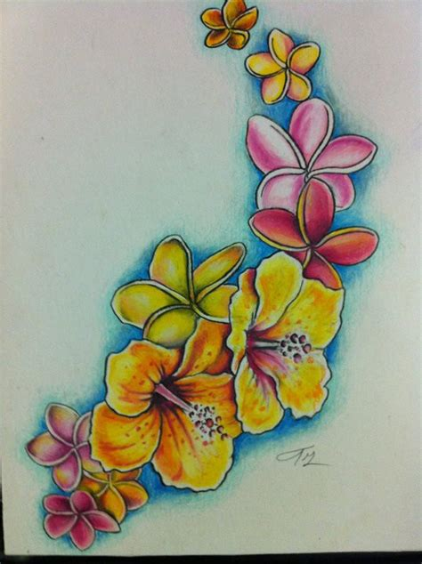 surf flower tattoo designs colored hibiscus and plumeria by lilmrsfrankenstein