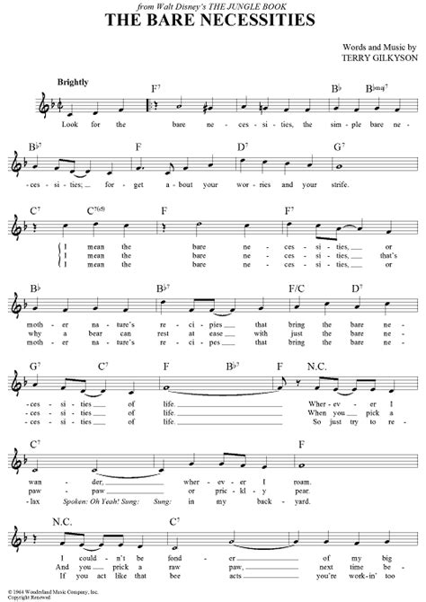 printable lyrics bare necessities the bare necessities sheet music music for piano and