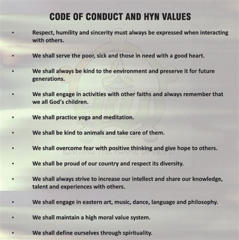 code of conduct values