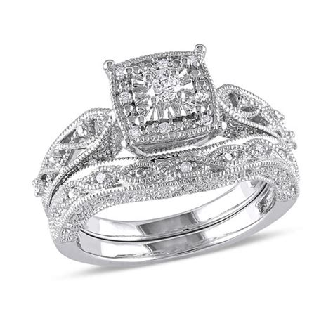 1 ct bridal set 1 5 ct t w cascading bridal set in sterling