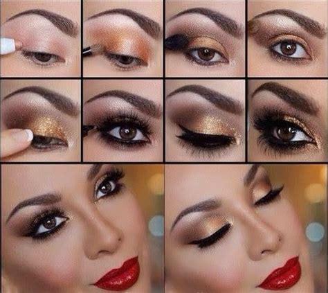 eyeshadow tutorial with gold glitter gold smokey eye i love cute makeup