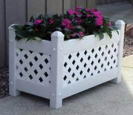 Large white vinyl lattice garden planter box dura trel 11154