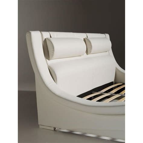 beti lit adulte sommier 140x190 blanc pieds led achat
