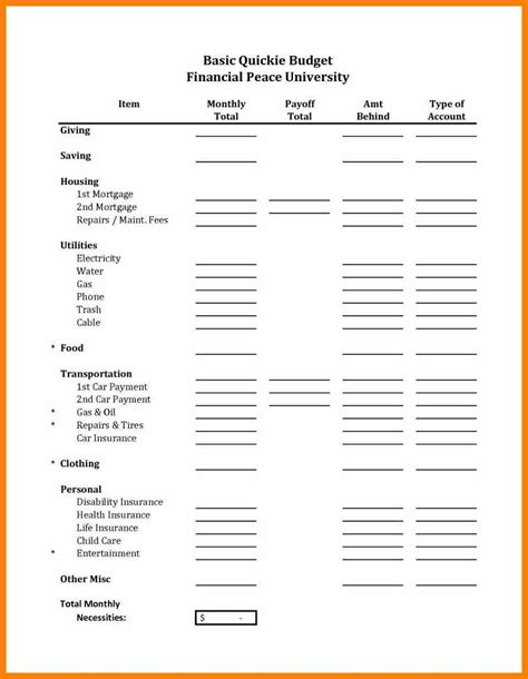8 Dave Ramsey Budget Forms Prome So Banko Dave Ramsey Budget Forms Templates