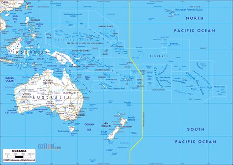 australia and oceania map large detailed roads map of australia and oceania with all