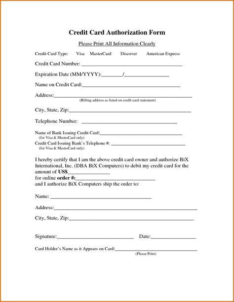 credit card information form template 13 printable credit card authorization form lease template