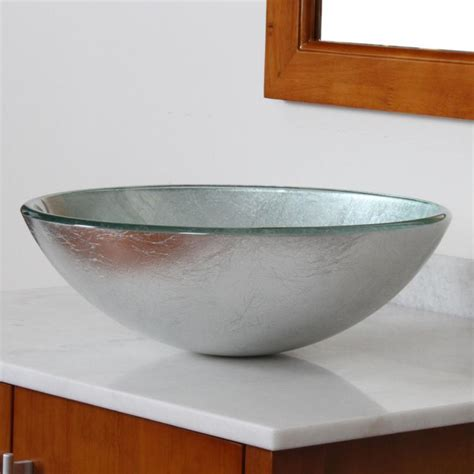 Silver Glass Vessel Sink by Elite New Tempered Glass Bathroom Vessel Sink Silver