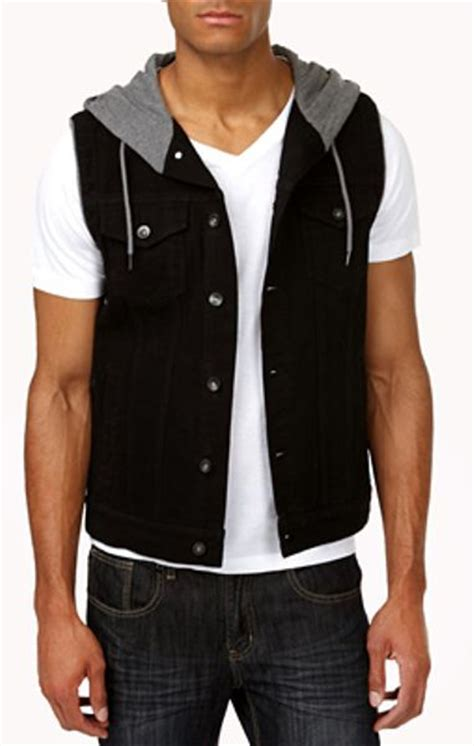 Hooded Denim Vest 21men hooded denim vest in black for black grey lyst