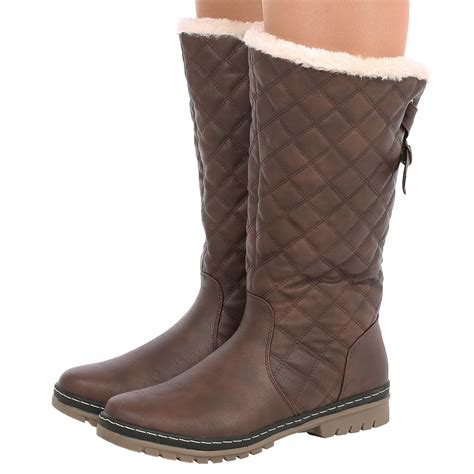 womens fur lined boots new womens fur lined quilted moon ski winter