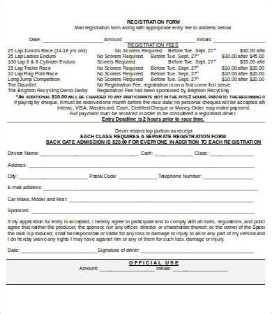 race registration form template 10 printable registration form templates free sle