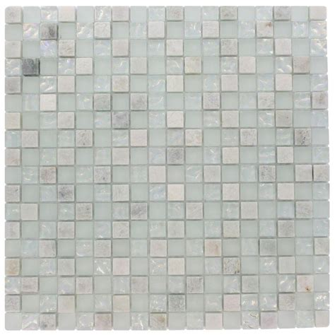 Marble Mosaic Floor Tile Splashback Tile Emerald Bay Blend Squares 12 In X 12 In X 8 Mm Marble And Glass Mosaic Floor