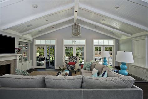 Cost Of Vaulted Ceiling by Gray Sectional Transitional Living Room Fiorella Design