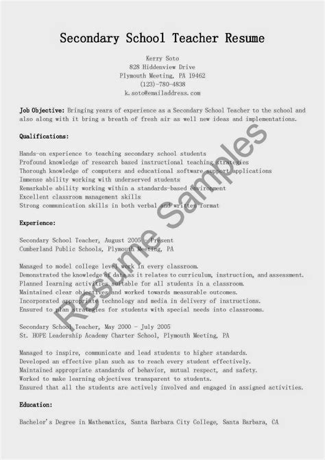 Resume Exles For Secondary Teachers Resume Sles Secondary School Resume Sle