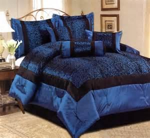 7 king size comforter set satin leopard blue black